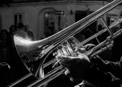 Black and white trumpet